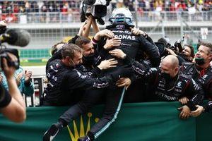 Valtteri Bottas, Mercedes, 1st position, celebrates in Parc Ferme