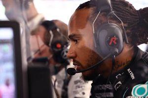 Lewis Hamilton, Mercedes, at work in the garage