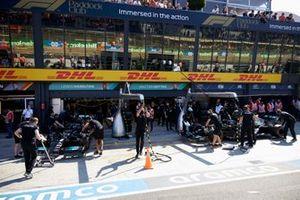 Lewis Hamilton, Mercedes W12 and Valtteri Bottas, Mercedes W12 in pit lane DHL