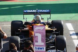Daniel Ricciardo, McLaren, 1st position, arrives in Parc Ferme