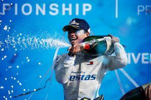 Champion Nyck de Vries, Mercedes-Benz EQ, on the championship podium