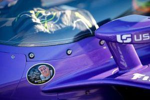Romain Grosjean, Dale Coyne Racing with RWR Honda, avec un sticker en hommage à Robin Miller