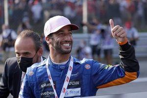 Daniel Ricciardo, McLaren, 3rd position, celebrates in Parc Ferme