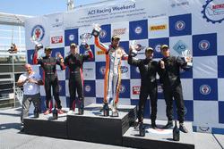 Podio PRO gara 2, Stefano Gai (Black Bull Swisse Racing, Ferrari 488-S.GT3 #46), Treluyer-Ghirelli (