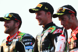 Podium: race winner Jonathan Rea, Kawasaki Racing, second place Tom Sykes, Kawasaki Racing, third place Marco Melandri, Ducati Team