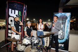 Sergio Perez, Sahara Force India F1; team mate Nico Hulkenberg, Sahara Force India F1; and Bertrand Gachot, Hype Energy CEO, at a Hype Energy Drink event
