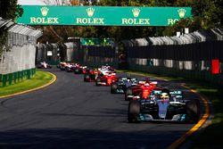 Lewis Hamilton, Mercedes AMG F1 W08, leads Sebastian Vettel, Ferrari SF70H, Valtteri Bottas, Mercede