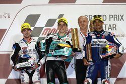 Podium : le vainqueur Joan Mir, Leopard Racing; le deuxième, John McPhee, British Talent Team; le troisième, Jorge Martin, Del Conca Gresini Racing Moto3