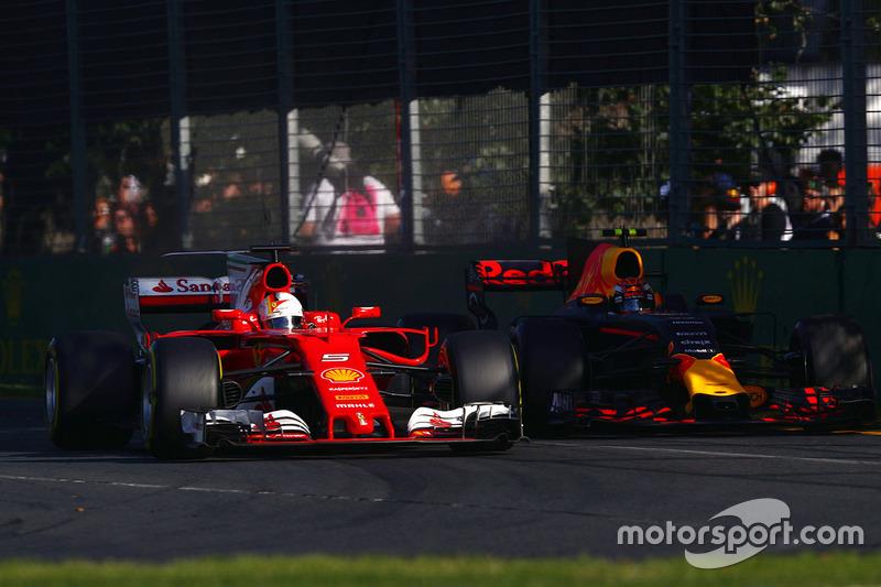 Sebastian Vettel, Ferrari, SF70H; Max Verstappen, Red Bull Racing, RB13