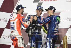 Podium: race winner Maverick Viñales, Yamaha Factory Racing, second place Andrea Dovizioso, Ducati T