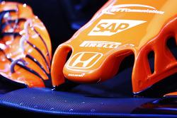 Détails du nez et logo Honda logo sur la McLaren MCL32