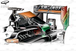 Force India VJM07 engine cover revision (enlarged shark fin, due to internal pipework and cooler changes)