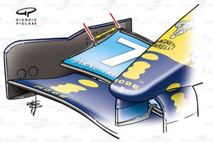 Renault R24 front wing (increase flap length, note angle of attack can be adjusted from the central pivot point