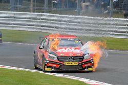 Adam Morgan, Ciceley Motorsport Mercedes Benz A-Class on fire