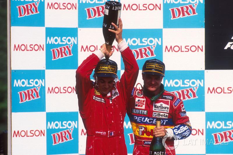 Podyum: Yarış galibi Jean Alesi, Ferrari, 2. Rubens Barrichello, Jordan