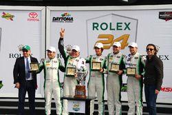 Podium GTD: first place Daniel Morad, Jesse Lazare, Carlos de Quesada, Michael de Quesada, Michael Christensen, Alegra Motorsports