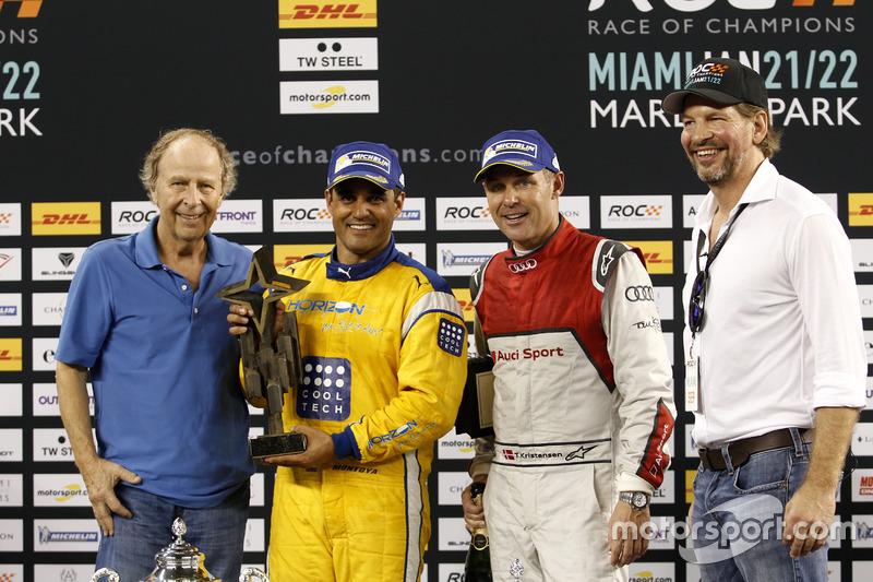 Podio: Ganador Juan Pablo Montoya, segundo Tom Kristensen y Fredrik Johnsson, RoC