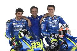 Андреа Янноне, Алекс Ринс и руководитель команды Давиде Бривио, Team Suzuki Ecstar MotoGP