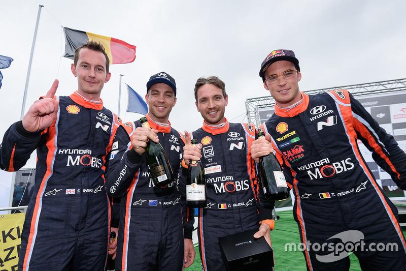 Winners Thierry Neuville, Nicolas Gilsoul, Hyundai Motorsport, second place Hayden Paddon, Sebastian