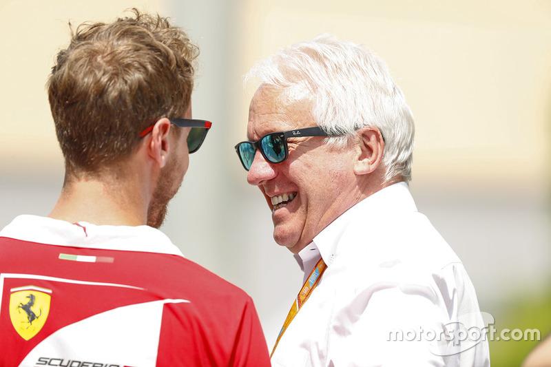 Sebastian Vettel, Ferrari, with Charlie Whiting,  FIA Race Director
