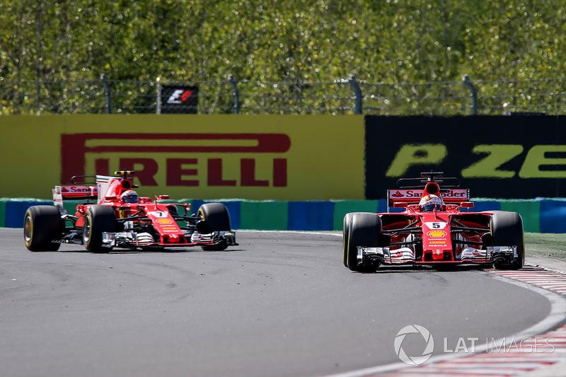 Sebastian Vettel, Ferrari SF70-H ve Kimi Raikkonen, Ferrari SF70-H