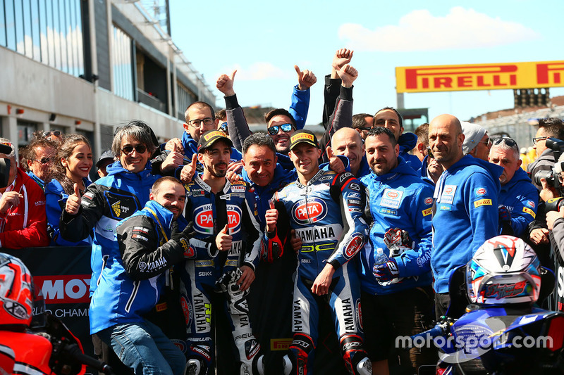 Second place Florian Marino, Pata Yamaha Official STK 1000 Team, third place Roberto Tamburini, Pata Yamaha Official STK 1000 Team