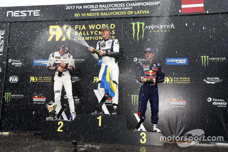 Podium: winnaar Johan Kristoffersson, PSRX Volkswagen Sweden, VW Polo GTi, tweede plaats Mattias Eks