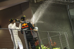 Podium: race winner Lewis Hamilton, Mercedes AMG F1, second place Daniel Ricciardo, Red Bull Racing