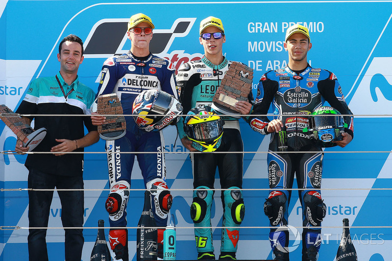 Podium: ganador, Joan Mir, Leopard Racing, segundo, Fabio Di Giannantonio, Del Conca Gresini Racing Moto3, tercero, Enea Bastianini, Estrella Galicia 0,0