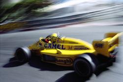 Race winner Ayrton Senna on Lotus-Honda