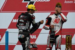 Podium : le vainqueur Takaaki Nakagami, Honda Team Asia, et le deuxième Johann Zarco, Ajo Motorsport