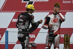 Podium: winner Takaaki Nakagami, Honda Team Asia, second place Johann Zarco, Ajo Motorsport