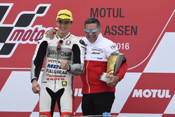 Podium: winner Francesco Bagnaia, Aspar Team Mahindra with Jorge Martin
