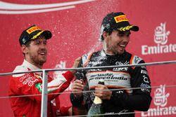 Sergio Perez, Sahara Force India F1 viert zijn derde plaats op het podium