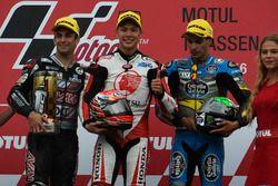 Podium : le vainqueur Takaaki Nakagami, Honda Team Asia, le deuxième, Johann Zarco, Ajo Motorsport, le troisième, Franco Morbidelli, Marc VDS