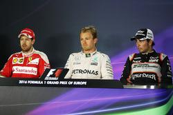 The post race FIA Press Conference (L to R): Sebastian Vettel, Ferrari, second; Nico Rosberg, Merced