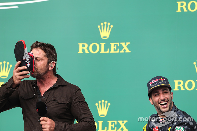 Gerard Butler, Actor and Daniel Ricciardo, Red Bull Racing RB12