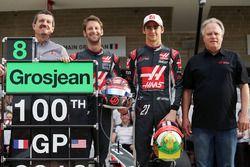 (L to R): Guenther Steiner, Haas F1 Team Principal; Romain Grosjean, Haas F1 Team; Esteban Gutierrez, Haas F1 Team; and Gene Haas, Haas Automotion President at a team photograph