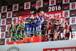 Podium: winners #21 Yamaha Factory Racing Team: Katsuyuki Nakasuga, Pol Espargaro, Alex Lowes, secon