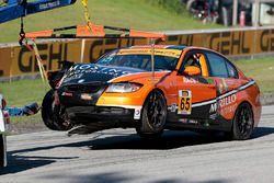 #65 Murillo Racing BMW 328i: Tim Probert, Brent Mosing after a crash