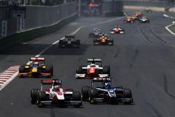 Nobuharu Matsushita, ART Grand Prix & Raffaele Marciello, RUSSIAN TIME, lead Oliver Rowland, MP Motorsport & Antonio Giovinazzi, PREMA Racing