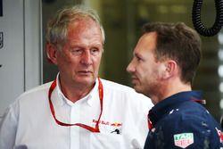 Le Dr Helmut Marko, Consultant Red Bull Motorsport et Christian Horner, Team Principal Red Bull Racing