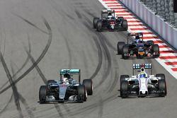 Lewis Hamilton, Mercedes AMG F1 Team W07 and Felipe Massa, Williams FW38 battle for position
