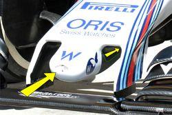 Detalle de la nariz de FW38 Williams