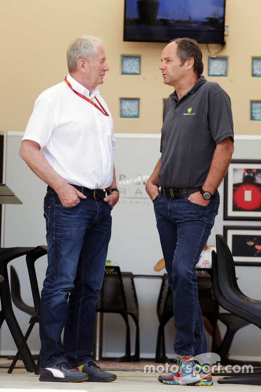 Dr Helmut Marko, Red Bull Motorsport Consultant met Gerhard Berger