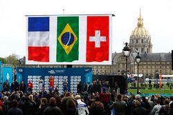 Podium : le vainqueur Lucas di Grassi, ABT Schaeffler Audi Sport, le deuxième Jean-Eric Vergne, DS Virgin Racing, et le troisième Sébastien Buemi, Renault e.Dams