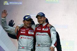 Podium: les 2e, #7 Audi Sport Team Joest Audi R18: Marcel Fassler, Andre Lotterer