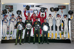 Class podium: DP winners Johannes van Overbeek, Scott Sharp, Ed Brown, Pipo Derani, ESM Racing, PC w