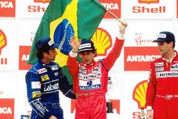 Podium: 1. Ayrton Senna, 2. Riccardo Patrese, 3. Gerhard Berger