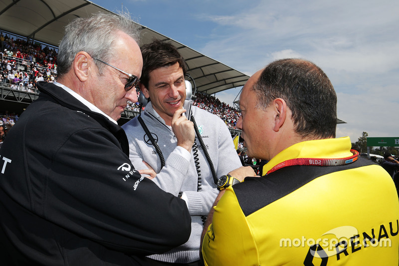 (L to R): Jerome Stoll, Renault Sport F1 President with Toto Wolff, Mercedes AMG F1 Shareholder and